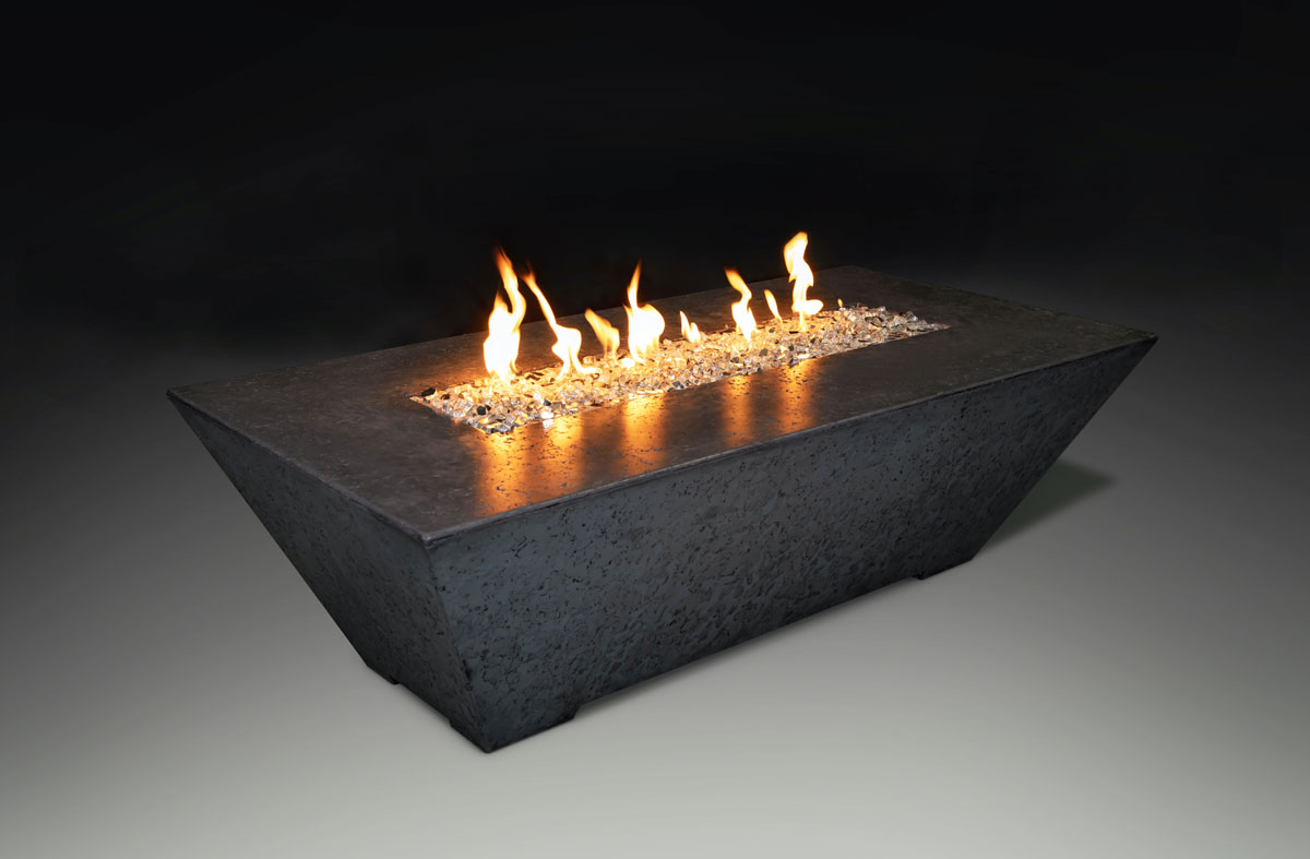 Fire Table Rectangle Charcoal Black