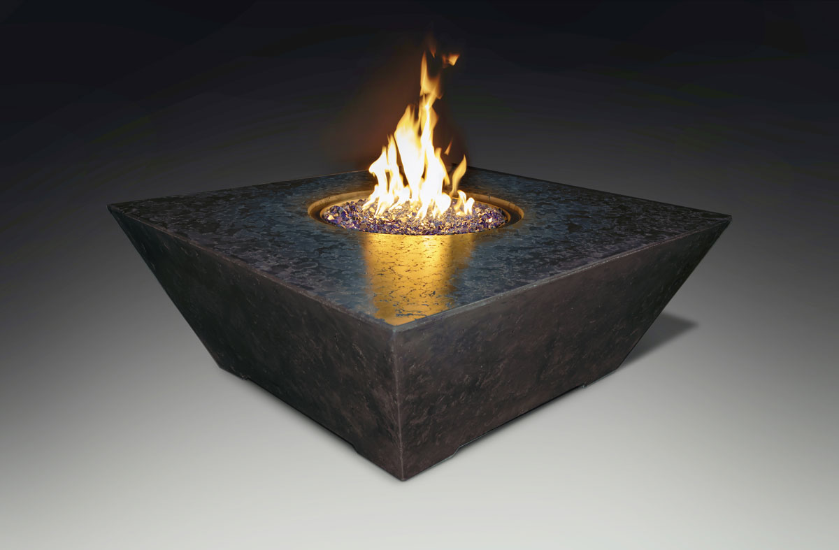 Fire Table Square Charcoal Black